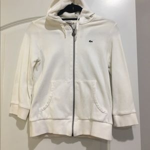 Lacoste White zip up hoodie with terrycloth